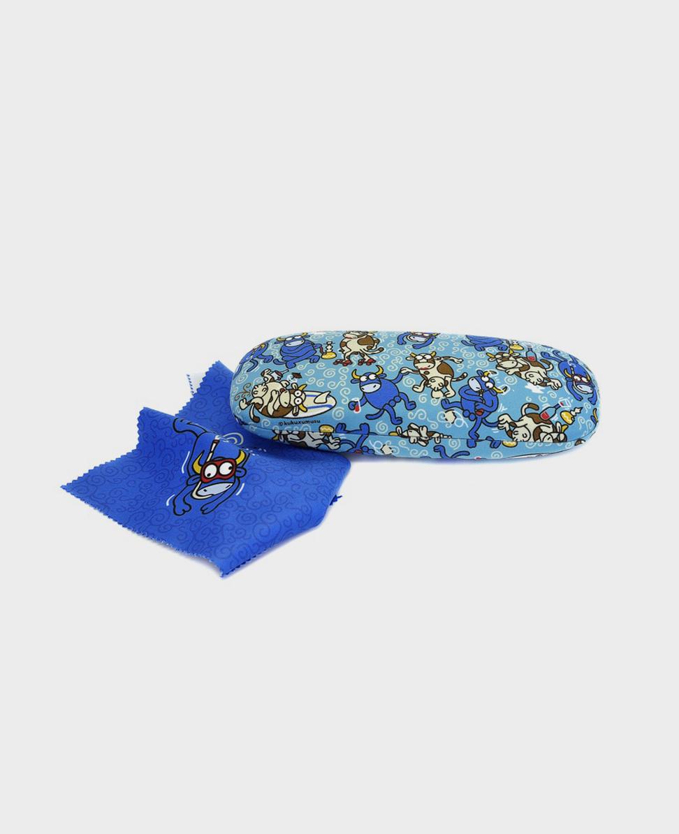 Funda de gafas estampada con toros azules