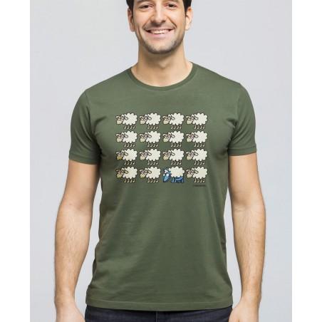 Camiseta de hombre Lobo Escondido en Verde
