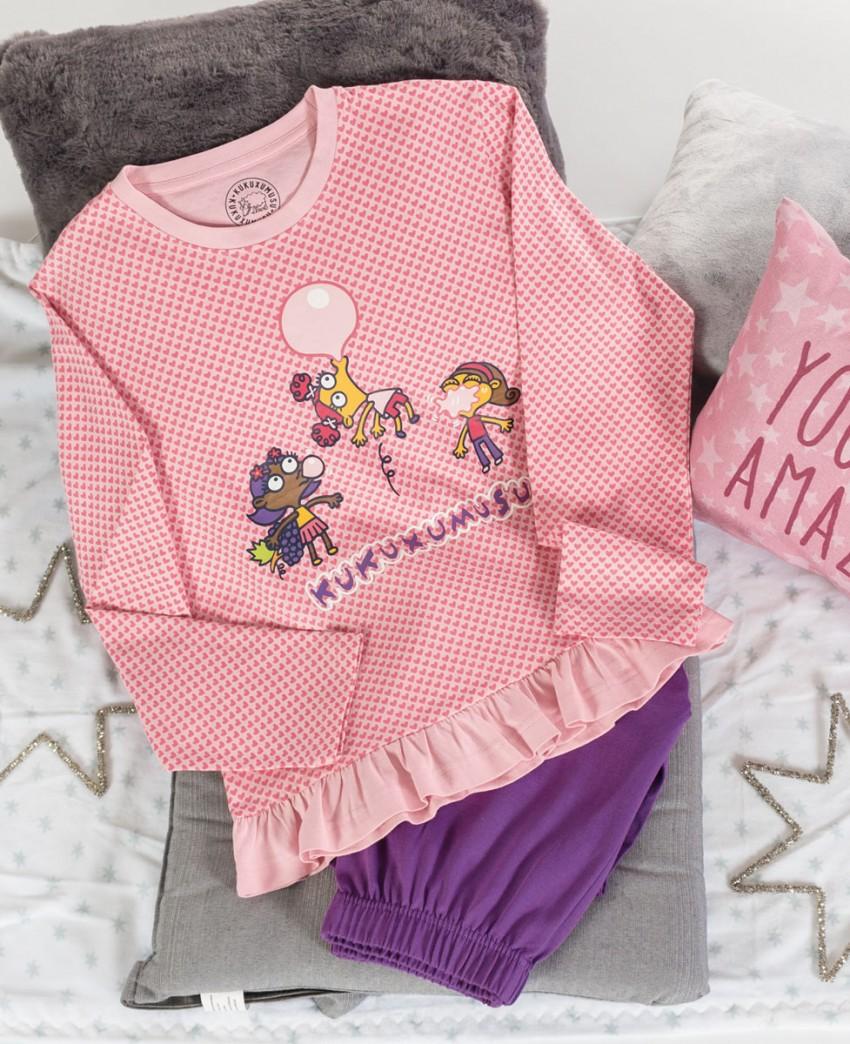 Pijama Largo Rosa y Morado de Kukuxumusu Niñas con Chicles