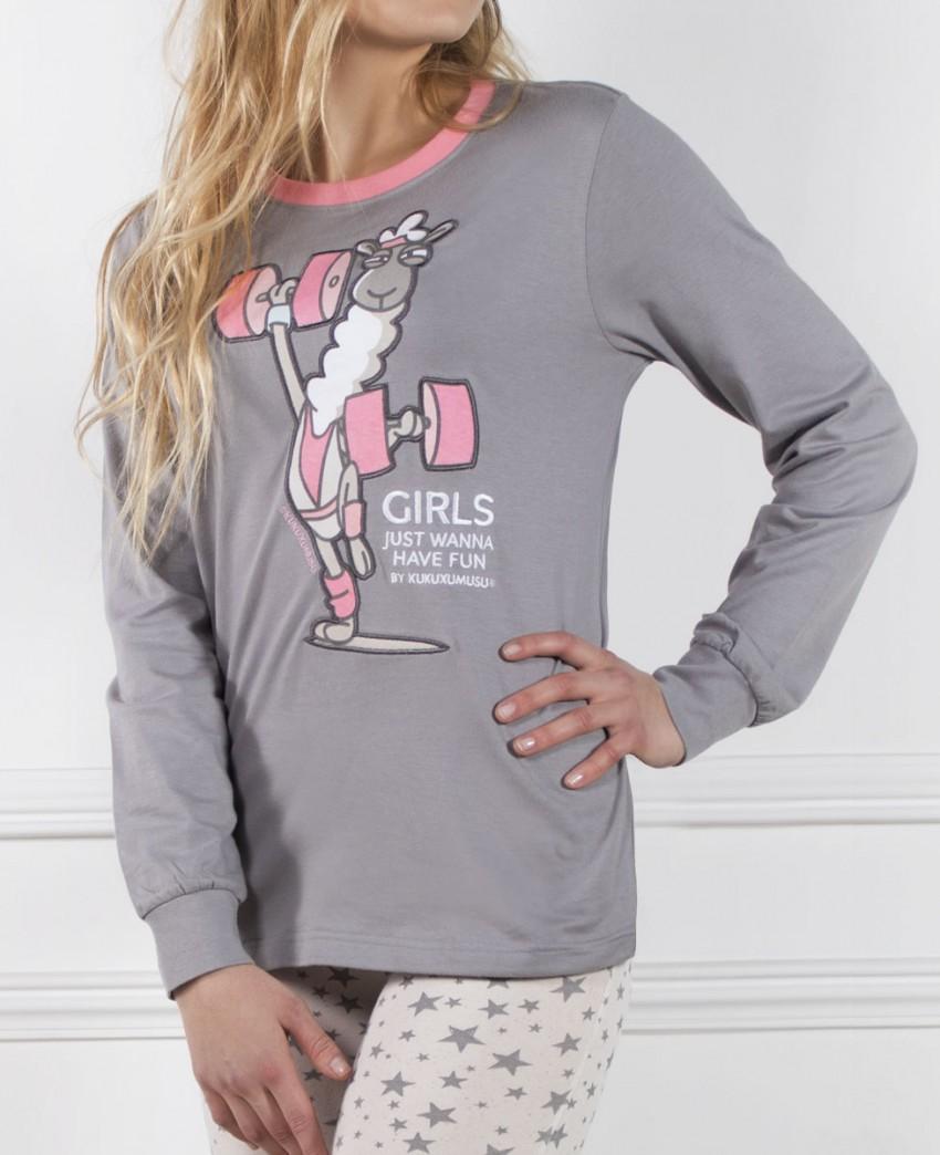 Pijama Largo de Mujer Kukuxumusu Gym Llamas