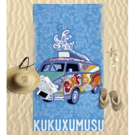 Toalla de playa grande para niños con Furgosurf y Kukuxumusu