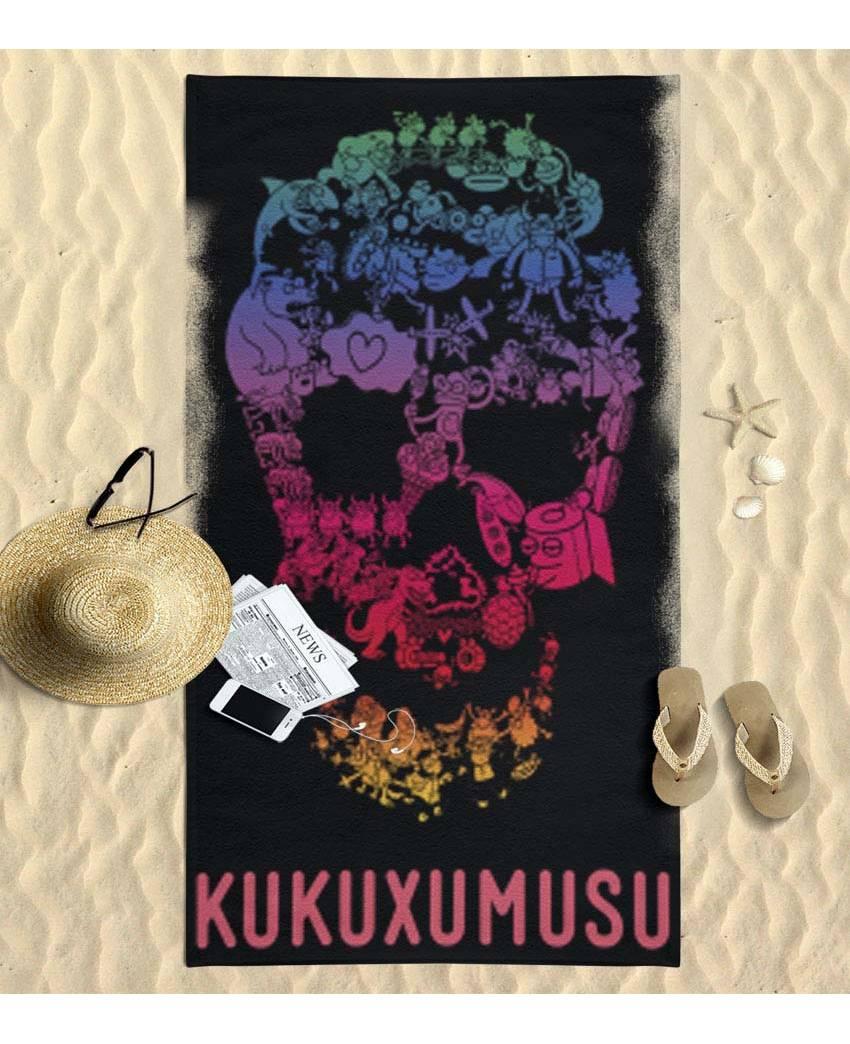 Kukuxumusu Toalla de Playa Grande Negra Kukuskull (90x170cm)