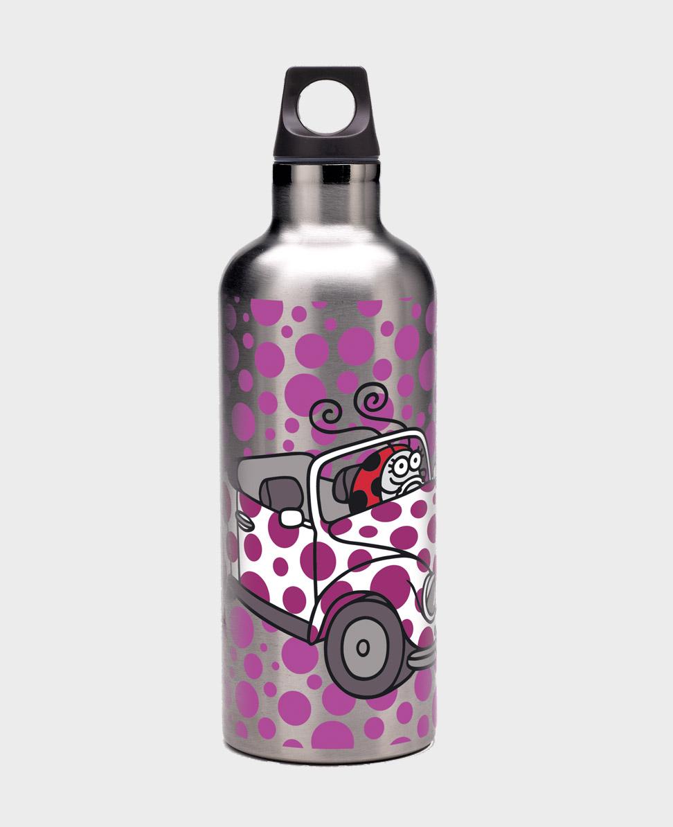 Botella térmica gris estampada con diseño Mary kukuxumusu